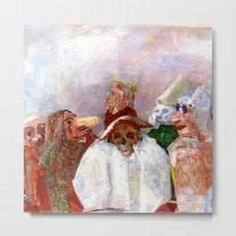 Masks Mocking Death portrait painting by James Ensor Metal Print