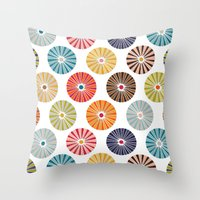 carousel Throw Pillows featuring carousel by Sharon Turner