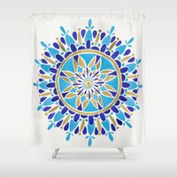 royal Shower Curtains featuring Royal Blue Mandala by Cat Coquillette