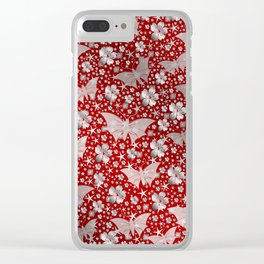 silver, red,flowers, stars, butterfly, pattern, bright, shiny, elegant, color Clear iPhone Case