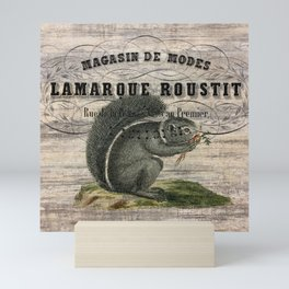 french country scripts fall autumn woodland animal grey squirrel Mini Art Print