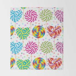 lollipops pattern, colorful spiral candy cane with twisted design Throw Blanket