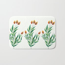 Abstract Green Plant With Orange Buds Bath Mat
