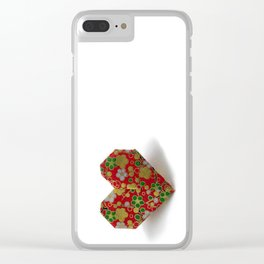 Origami Valentine's Day Heart on a White Background Clear iPhone Case