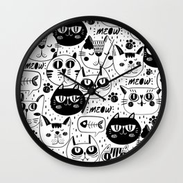 Doodle hand drawn pattern with cute cats Wall Clock