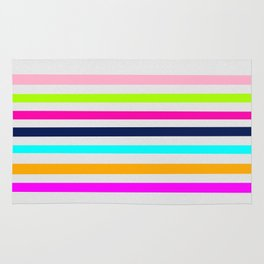 Modern neon colors geometrical whimsical stripes Rug