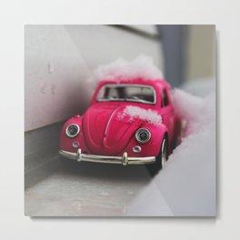 PINK Car in the Snow Metal Print