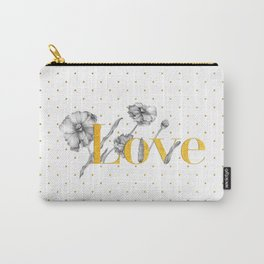 Love - Gold flowers and polka dots on white Carry-All Pouch