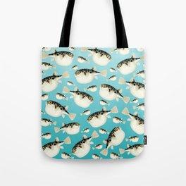Puffer Fish watercolor Pattern Teal Tote Bag