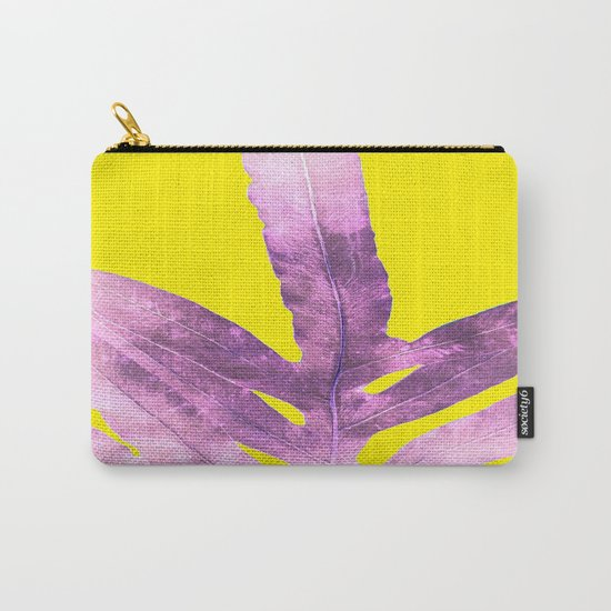 Green Fern on Bright Yellow Inverted Carry-All Pouch