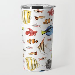 Tropical Fish on White - pattern Travel Mug