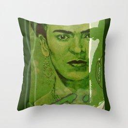 Frida Kahlo - between worlds - green Throw Pillow