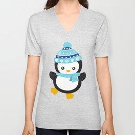 Christmas Penguin, Penguin With Scarf, Hat, Xmas Unisex V-Neck
