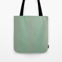 Minty Salmon Pink Background Green Circles Tote Bag