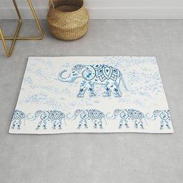 Blue Decorated Indian Elephant Rug