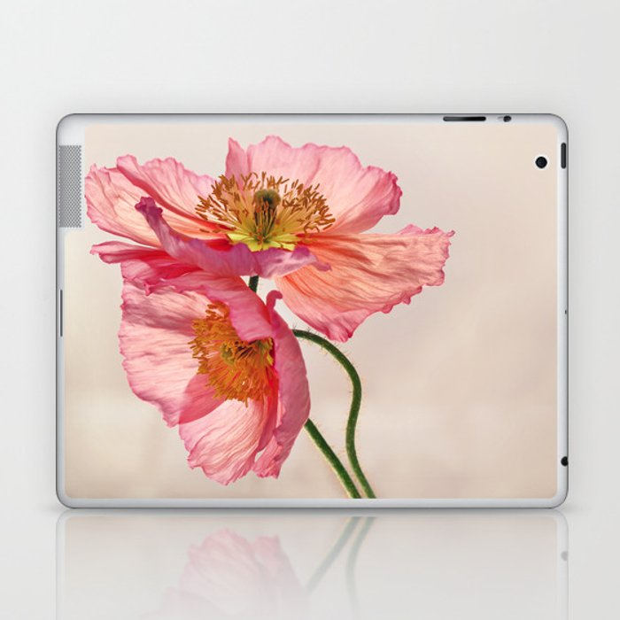 Like Light through Silk - peach / pink translucent poppy floral Laptop & iPad Skin