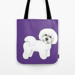 Bichon Frise dog on Ultraviolet, 2018 Bichon , Year of the dog, Pantone Ultraviolet Tote Bag