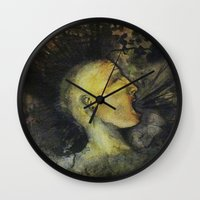 punk rock Wall Clocks featuring Punk by Shellie Mix