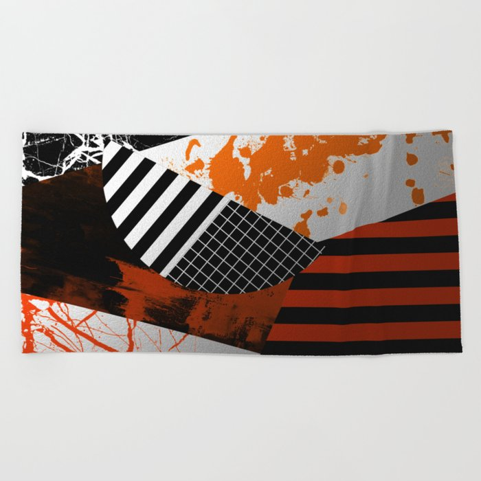 Metallic Pieces - Rustic, Abstract, metallic, textured black, white and gold artwork Beach Towel