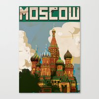 russia Canvas Prints featuring Russia Red Square st bazils cathedral vintage travel poster by Nick's Emporium