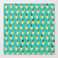 Anna Banana on blue Canvas Print