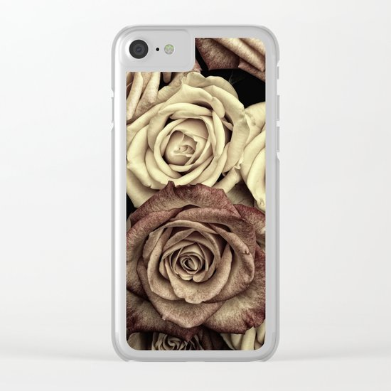 Brown Roses Clear iPhone Case