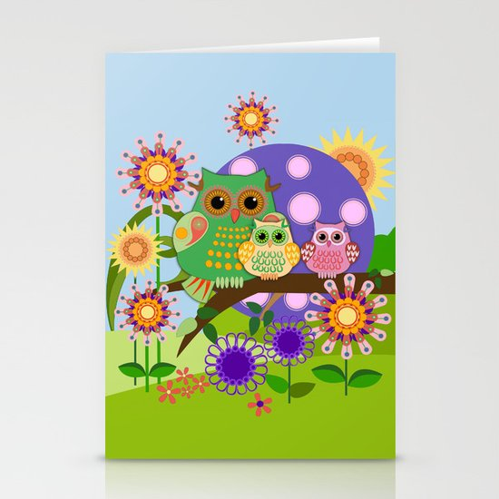 Owls, Flowers Fantasy design Stationery Cards