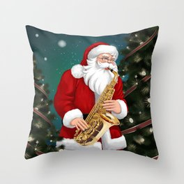 Santa Claus blowing saxophone Throw Pillow
