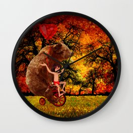 Bicycle bear and the jungle boy iPhone 4 4s 5 5c 6, pillow case, mugs and tshirt Wall Clock