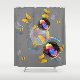 SURREAL YELLOW BUTTERFLIES & SOAP BUBBLES Shower Curtain