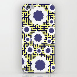 Floral maze in yellow and blue iPhone Skin