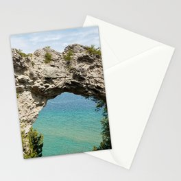 Arch Rock on Mackinac Island, Michigan with Lake Huron in the Background Stationery Cards