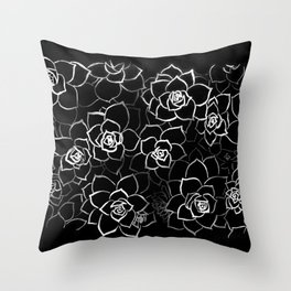 White ink. graphic with white ink and black cardboard. flowers Throw Pillow