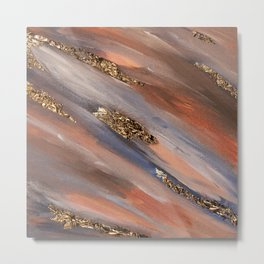 Colorful Paint Brushstrokes Gold Foil Abstract Texture Metal Print