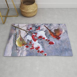 Red Birds of Christmas Rug