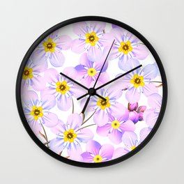 Abstract lavender pink lilac yellow floral pattern Wall Clock
