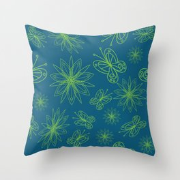 geometrical floral pattern with leaves and flowers linocut style Throw Pillow