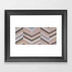 Reclaimed Barnwood Herringbone Pattern Framed Art Print