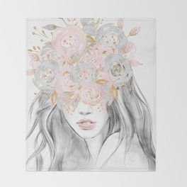 She Wore Flowers in Her Hair Rose Gold by Nature Magick Throw Blanket