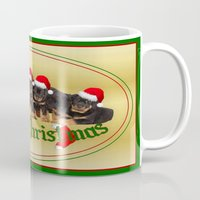rottweiler Mugs featuring Merry Christmas Rottweiler Puppies Greeting Card by taiche