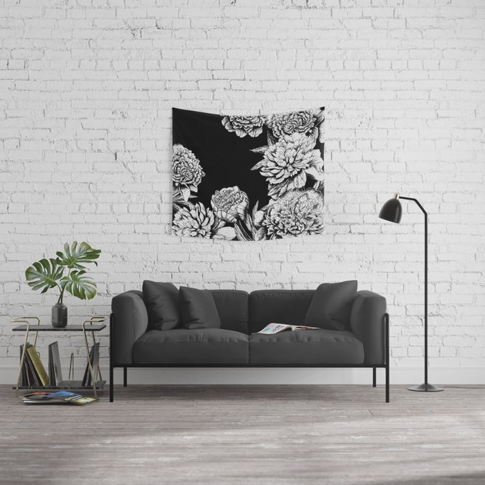 FLOWERS IN BLACK AND WHITE Wall Tapestry