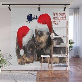 Puppy White Christmas I Saw Mummy Kissing Santa Claus Wall Mural