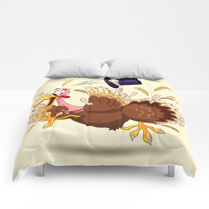 Thanksgiving Turkey Funny Scared and Running Cartoon Character Comforters