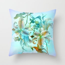 bue lilies Throw Pillow