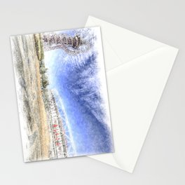 West Ham Olympic Stadium And The Arcelormittal Orbit Snow Stationery Cards