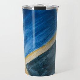 Blue Abstract Geometry Travel Mug