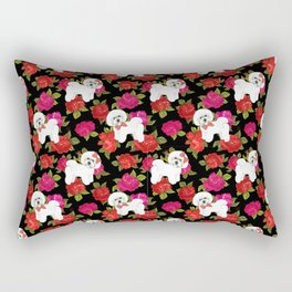 Bichon Frise dogs red rose floral for dog lovers Rectangular Pillow