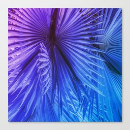 Fantasy Tropical Leaves in Purple and Blue Canvas Print