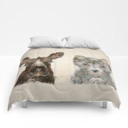 the little wolf and little moose Comforters