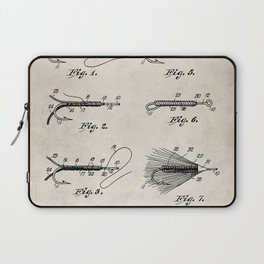 Fly Fishing Patent - Fisherman Art - Antique Laptop Sleeve
